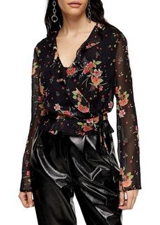 Topshop Floral Print Sheer Wrap Blouse