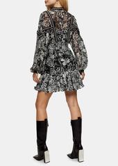 Topshop Floral Print Stud Detail Long Sleeve Minidress
