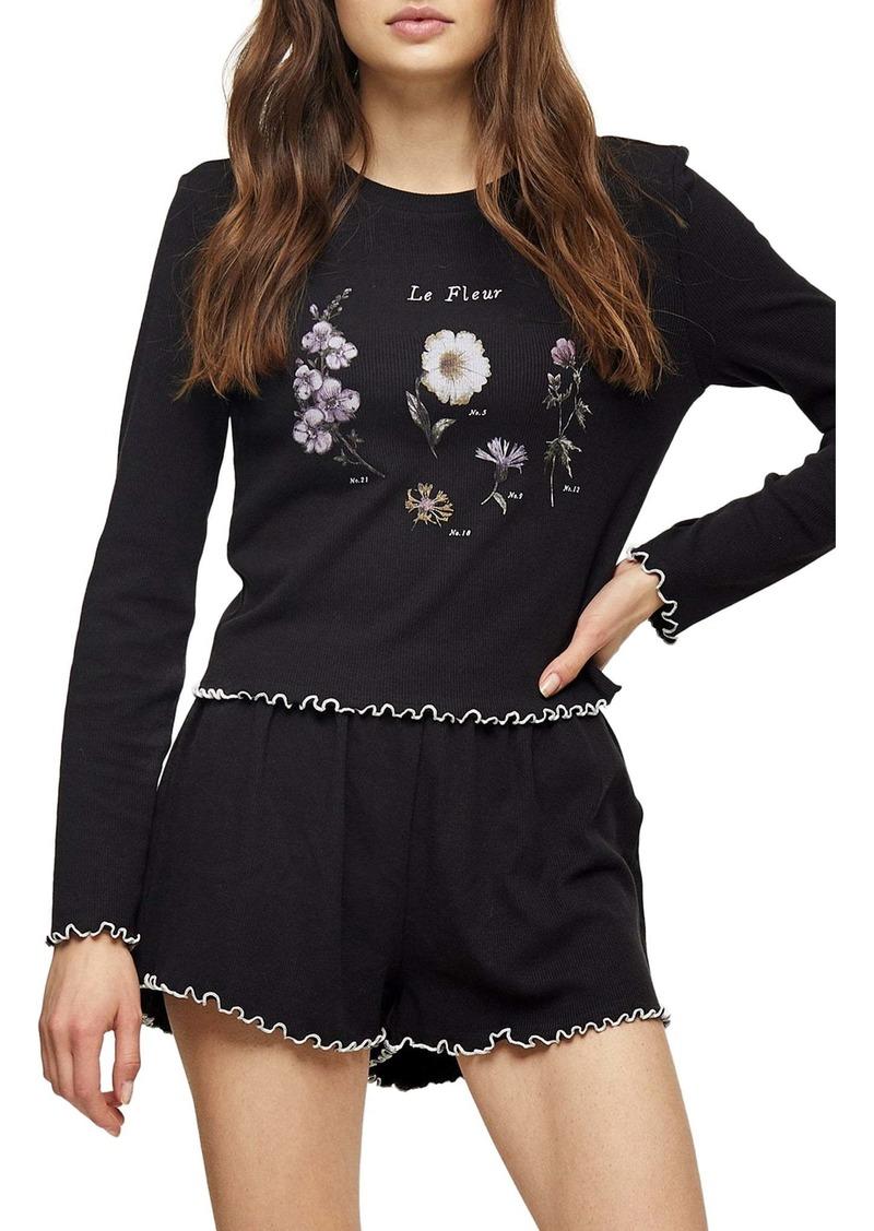 Topshop Floral Ribbed Short Pajamas