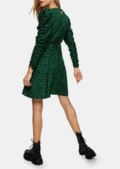 Topshop Floral Ruched Long Sleeve Minidress