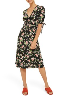 Topshop Floral Ruched Midi Dress