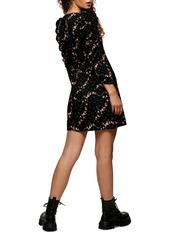 Topshop Floral Ruched Sleeve Tea Dress