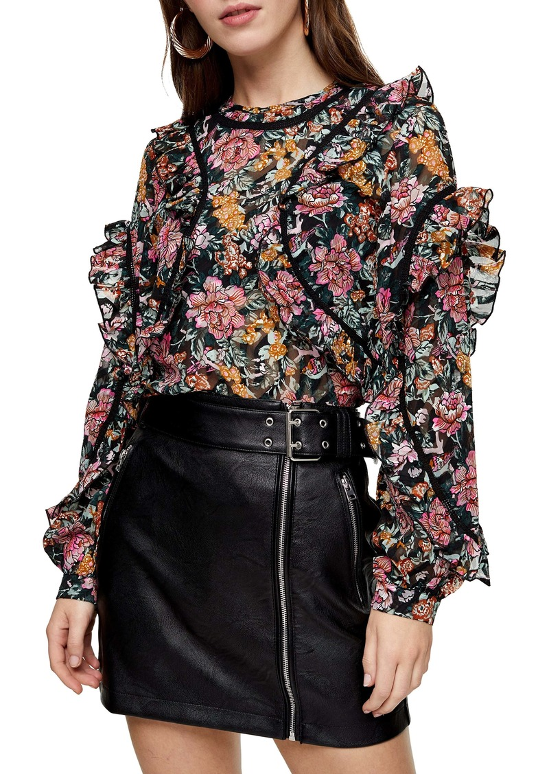 Topshop Floral Ruffle Blouse