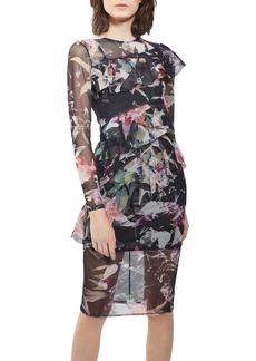 Topshop Floral Ruffle Mesh Midi Dress