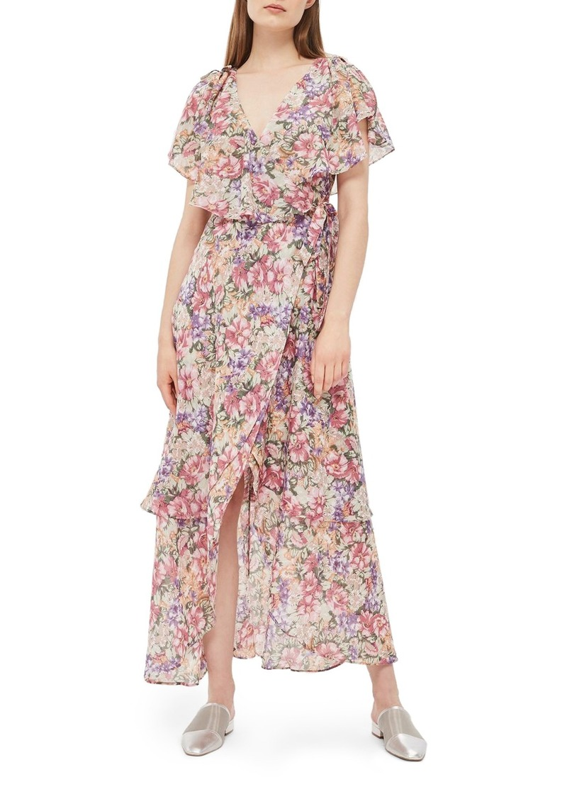 top-rated discount special price for the best Topshop Topshop Floral Ruffle Wrap Maxi Dress | Dresses