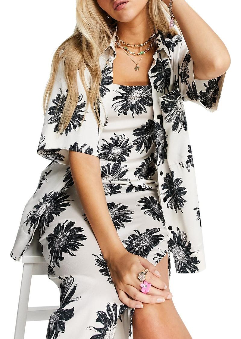 Topshop Floral Satin Button-Up Shirt