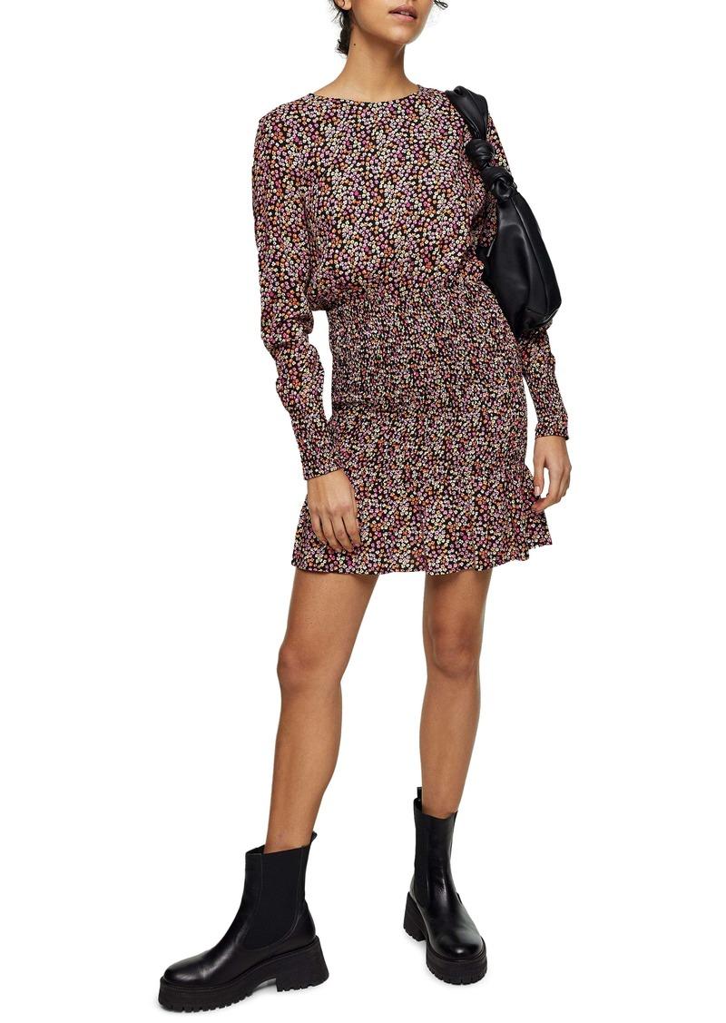 Topshop Floral Shirred Long Sleeve Minidress