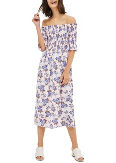 Topshop Floral Smocked Off the Shoulder Midi Dress