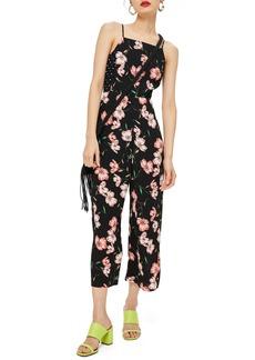 Topshop Floral Spotted Bow Back Jumpsuit