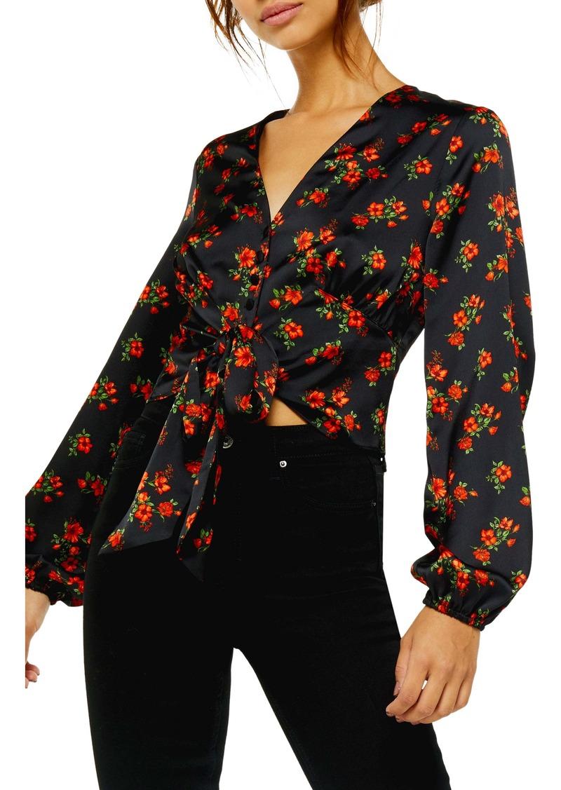 Topshop Floral Tie Front Long Sleeve Blouse