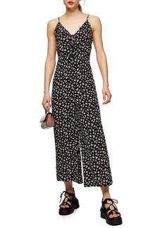 Topshop Floral Tie Front Wide Leg Jumpsuit (Regular & Petite)