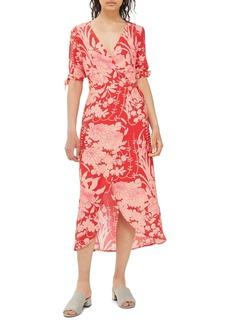 Topshop Floral Tie Sleeve Wrap Midi Dress
