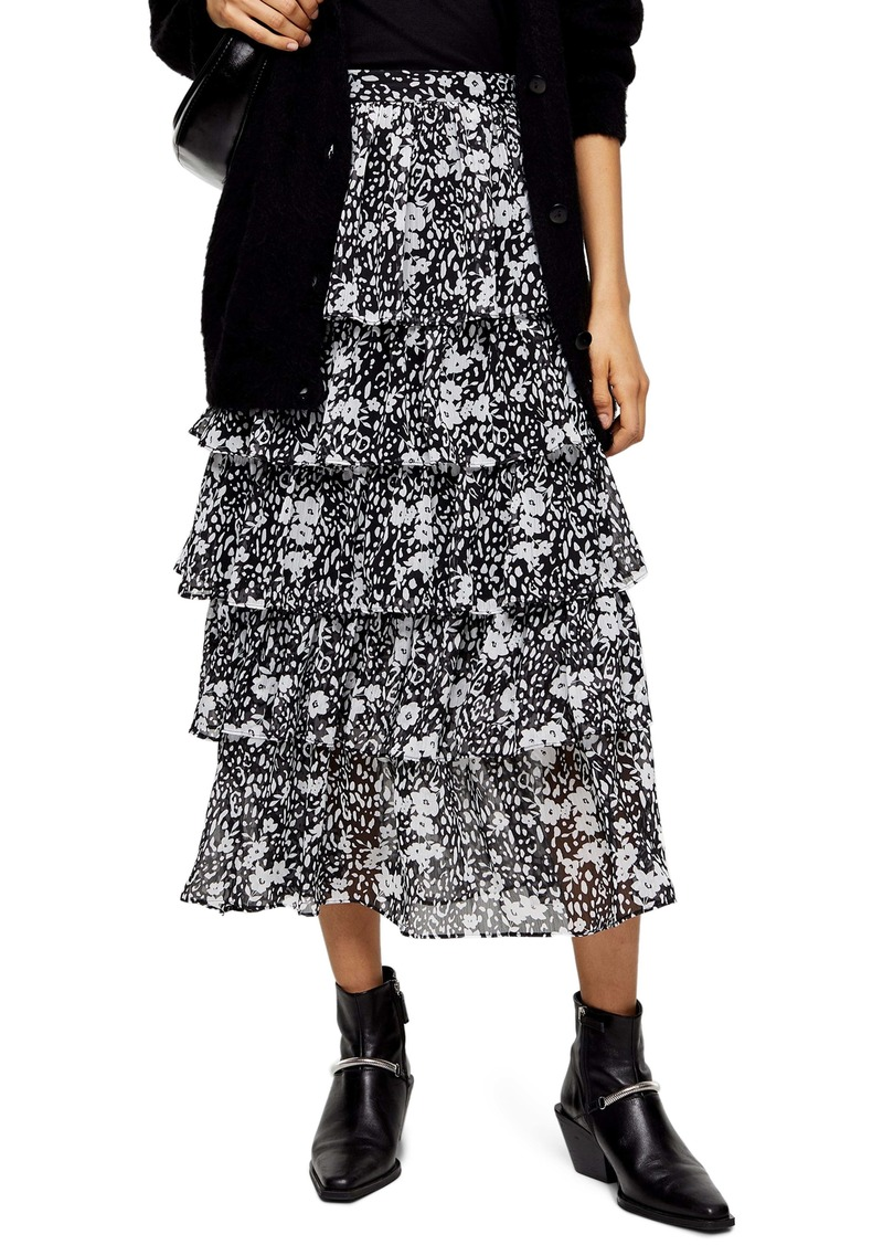 Topshop Floral Tiered Midi Skirt
