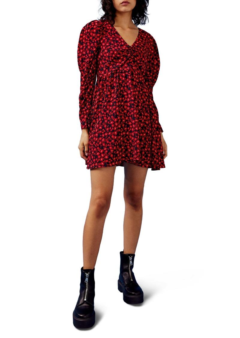 Topshop Floral V-Neck Long Sleeve Minidress