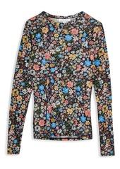 Topshop Flower Print Mesh Long Sleeve T-Shirt