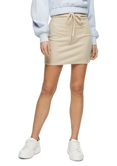 Topshop Fluffy Channel Drawstring Miniskirt