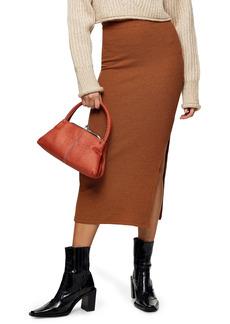 Topshop Fluffy Ribbed Midi Skirt