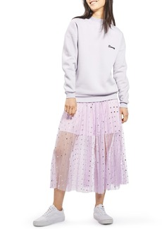 Topshop Foil Dot Pleat Midi Skirt