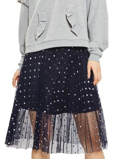 Topshop Foil Dot Pleat Midi Skirt (Petite)