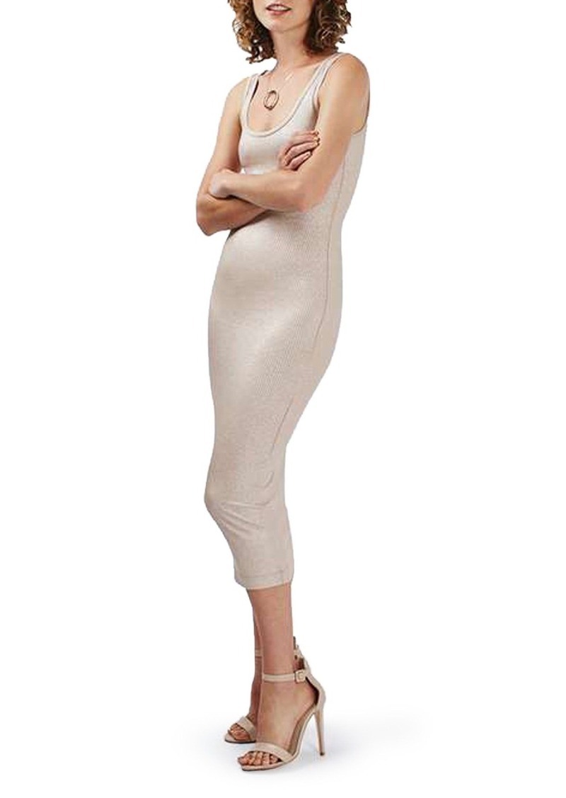 Topshop Foil Rib Knit Tank Midi Dress