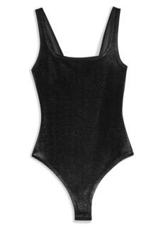 Topshop Foil Velour Bodysuit