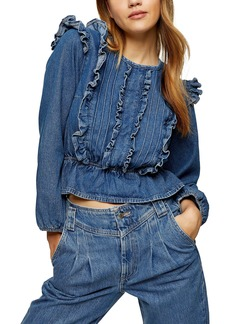 Topshop Frill Denim Blouse