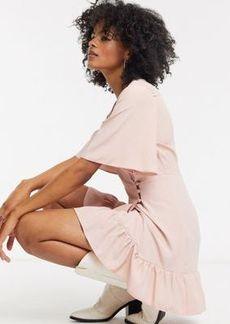 Topshop frill mini wrap dress in blush