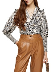 Topshop Frill Shoulder Animal Print Shirred Top