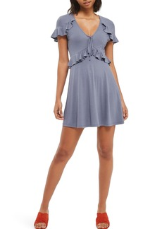 Topshop Frilly Tie Front Tea Dress