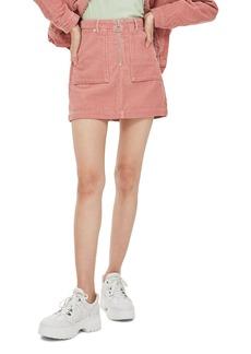 Topshop Front Zip Corduroy Miniskirt