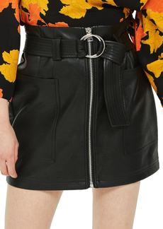 Topshop Front Zip Faux Leather Miniskirt