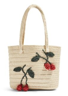 Topshop Fruity Cherry Straw Tote Bag