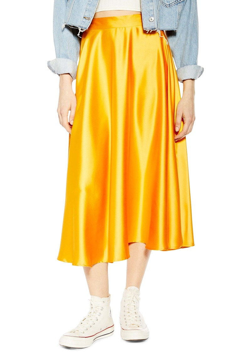Topshop Full Circle Satin Midi Skirt