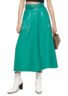 Topshop Full Circle Vinyl Midi Skirt