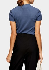 Topshop Funnel Neck Mesh Panel Ribbed Top