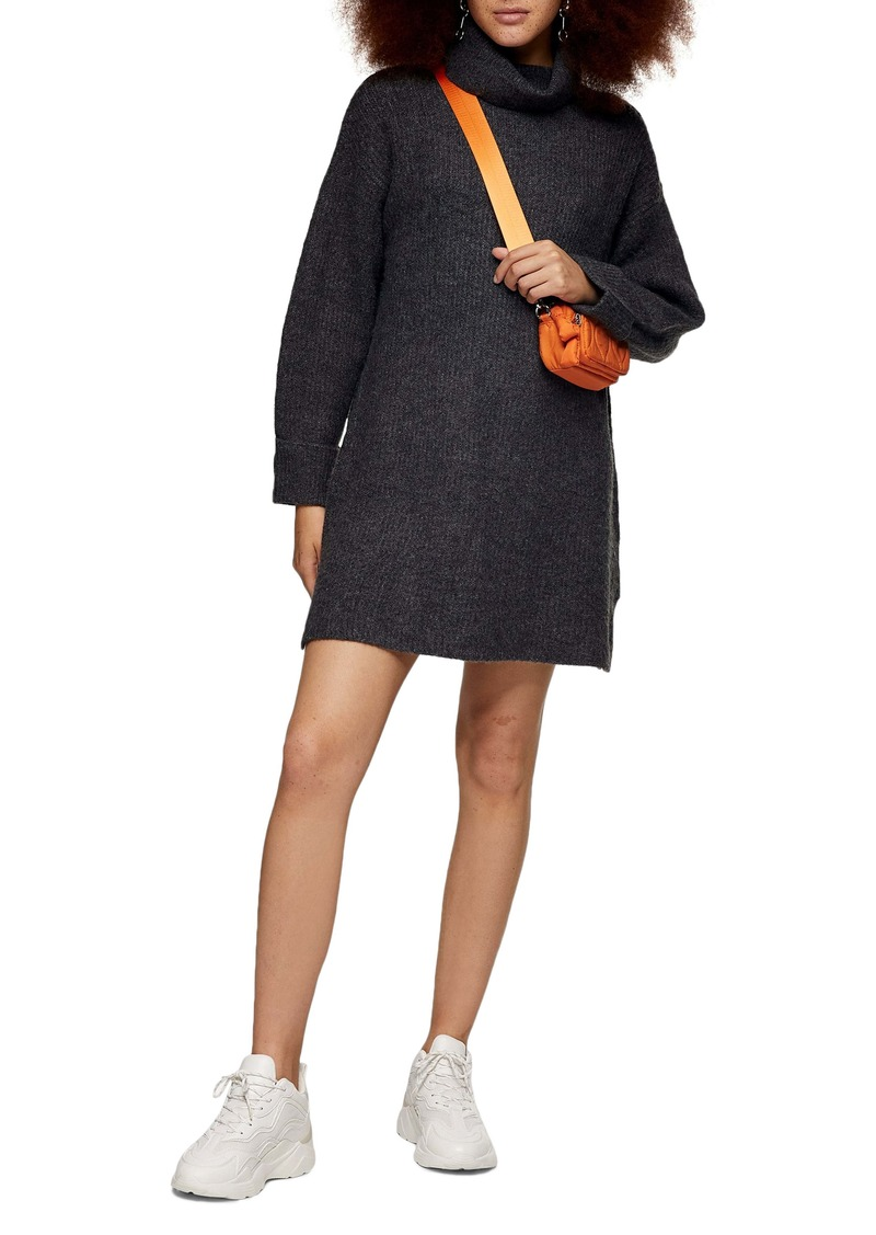 Topshop Funnel Neck Sweater Dress