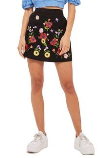 Topshop Garden Embroidered Miniskirt