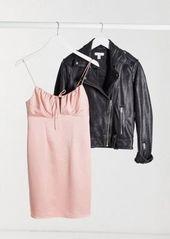 Topshop gathered bust mini slip dress in blush