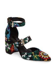 Topshop Gene Embroidered Buckle-Strap Pump (Women)