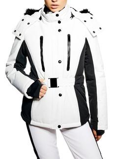 Topshop Geri Snowsports Jacket with Faux Fur Trim