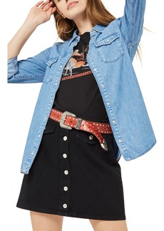 Topshop Gigi Fitted Denim Western Shirt