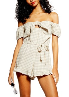 Topshop Gingham Off the Shoulder Romper