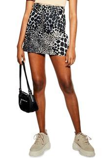 Topshop Giraffe Denim Miniskirt