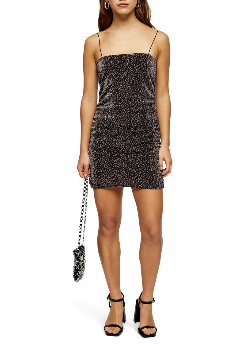 Topshop Glitter Metallic Leopard Ruched Minidress (Petite)