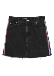Topshop Glitter Side Stripe Denim Skirt