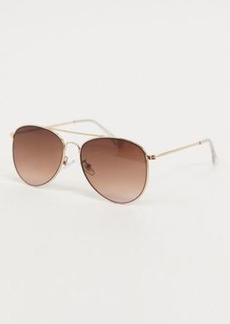 Topshop gold metal aviator sunglasses with brown gradient lens