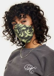 Topshop green camouflage print fashion face mask