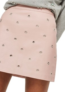 Topshop Grommet Faux Leather Skirt
