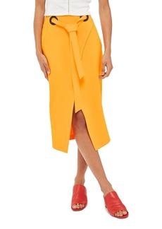 Topshop Grommet Wrap Midi Skirt