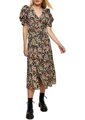 Topshop Grunge Floral Print Midi A-Line Dress
